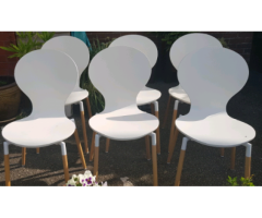 8 white wood chic dining chairs
