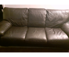 Leather 3 seater sofa and reclining armchair