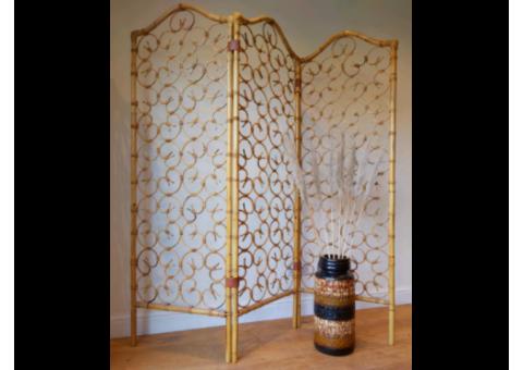 Mid century bamboo Tiki Bohemian room devider screen